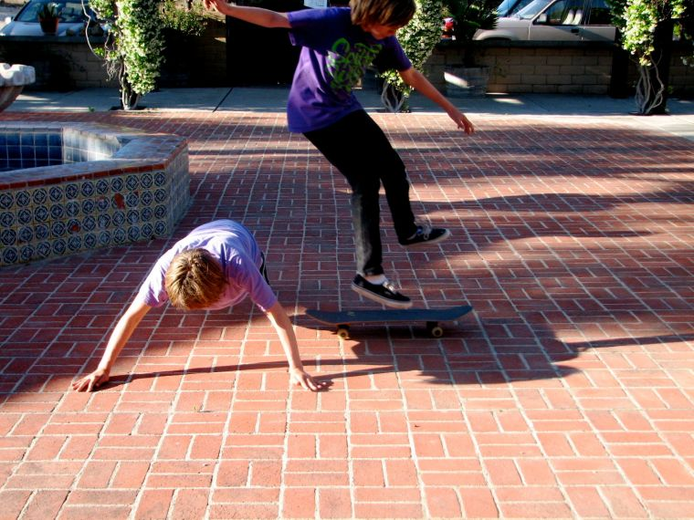 "Thing of Beauty (n):  Boy A does a push-up while Boy B releases skateboard UNDER Boy A and jumps over him, and then lands on the skateboard, after which time all spectators and Boy A and  Boy B shout, ""Man, was that a Thing of Beauty or what!"""